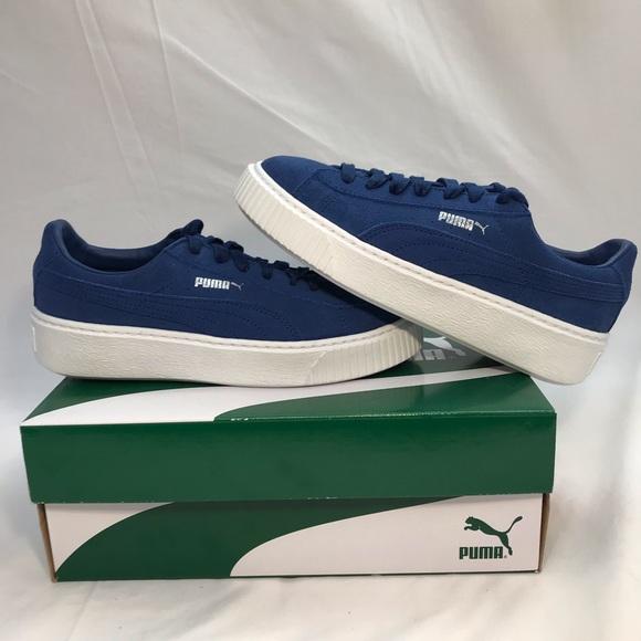 huge selection of e130c a7874 Puma Suede Platform Royal Blue White Sneakers Shoe NWT